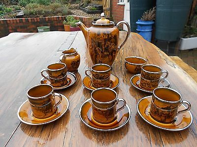 """Vintage Ridgways """"Scenes from Coaching Days"""" Coffee Set 15 pieces"""