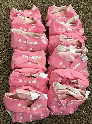 TRENDLAB 12Girls Pink Cloth Diapers + 16 Reusable Cloth Inserts Adjustable Snaps