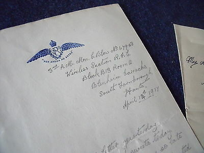 Royal Flying Corps RFC / RAF letters, Farnborough, France to Wolverton 1917-19