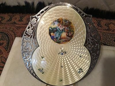 Antique Sterling Silver Enamel With Painting Oval Plaque