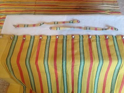Vintage Canvas Curtains, Stripy And Large