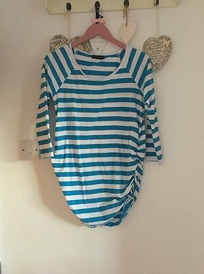 Women's Long Sleeved Blue & White Striped Maternity Top From Love Cassy Size 12