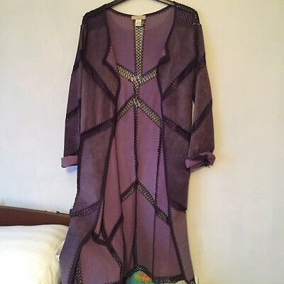 Purple Suede Crochet Long Duster Jacket Nordstrom S/M Vintage