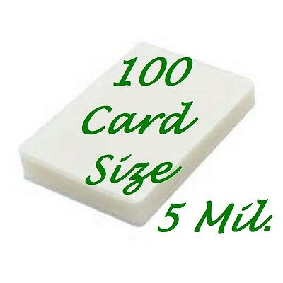 100 Card Size Laminating Pouches Sheets 2-5/8 x 3-7/8   5 Mil