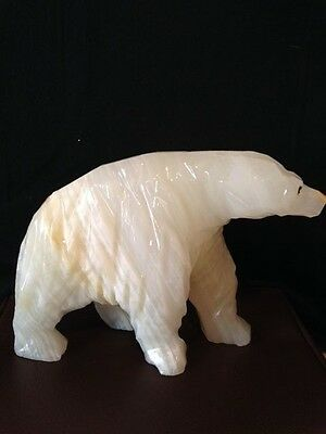 White Marble Alabaster  Hand Carved Polar Bear Figurine Statue