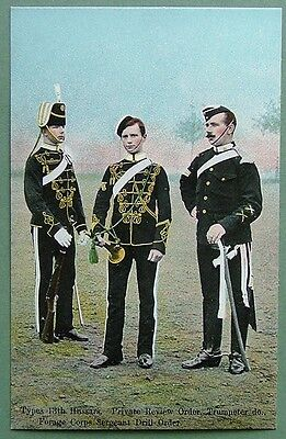 Military Art Postcard - Types 13Th Hussars-Private Review, Trumpeter, Drill Sgt