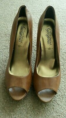 New Look Deep Tan High Heel Peep Toe Shoes Size 6