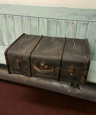 Vintage Metal Ribbed Steamer Chest Trunk Coffee Table.