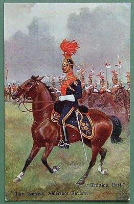 "Military Art Postcard - 12Th Lancers, Adershot Review, ""trotting Past"""