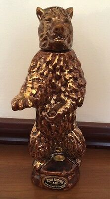 "Vintage Ezra Brooks Empty Grizzly Bear Bottle Broken Cork 14""h  Brown and Gold"
