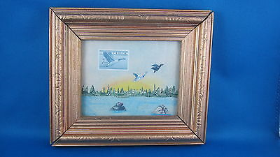 Canadian  Scene With Stamps   Art Naif  Primitive Folk