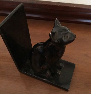 "Metal Cat Black Book End Made in India 6 1/2""h x 6""L x 3 1/8""w"