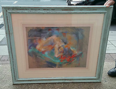 Sue Malkin Limited Edition Art Painting Picture Pastel Nude Framed Glass Signed