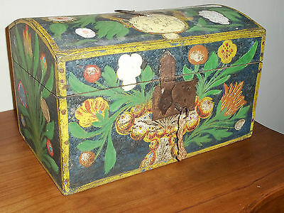 19th Century French Painted Marriage Domed Box from Normandy