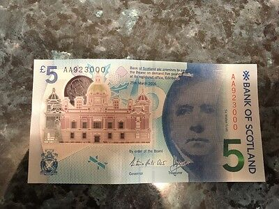 Plastic £5 Note - Bank of Scotland - Serial Number AA923000