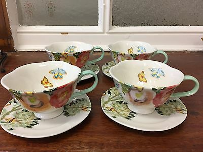 Set (4) Anthropologie Shelley Hesse Watercolor New Orleans cups and suacer set