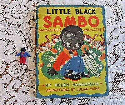 Little Black Sambo Animated Book Helen Bannerman Authentic Baby Doll Too 1943