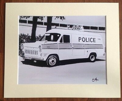 Mounted Print Of A Classic Ford Transit Police Car - Van