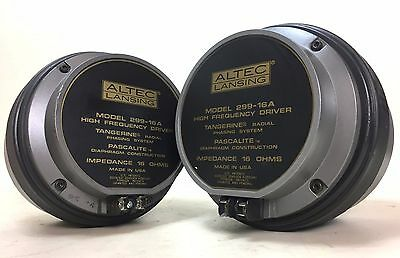 """Altec 299-16A 1.4"""" Tangerine Radial Phasing System Horn Driver Pair Matched DCRs"""