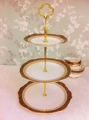 Winchester 3 Tier Cake Stand, Burgundy and Gold Lace, Duchess