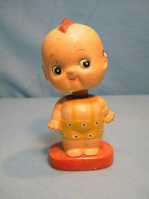 "Vintage 1950's Or 1960's Era Kewpie Doll Bobble Head Nodder 5"" Red Base"