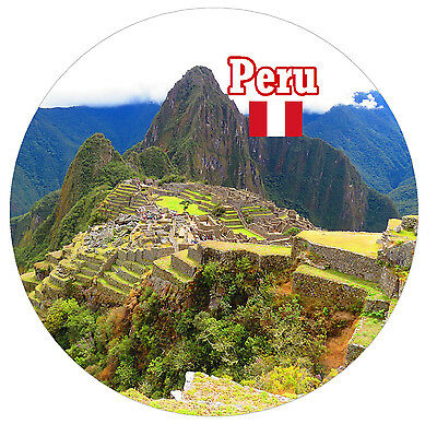 Peru / Flag / Sights - Round Souvenir Fridge Magnet - Brand New - Gifts