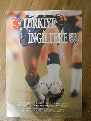 Turkey V England Rare 1994 World Cup Qualifying Programme 31/03/93