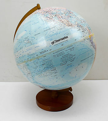 "Vintage Replogle Globemaster 12"" Raised Relief Globe with Hardwood Base"
