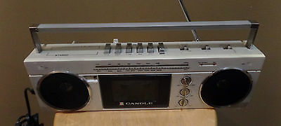 """Vintage Cream GHETTO Blaster """"CANDLE CCE"""" BOOMBOX AM/Fm Stereo CASSETTE Recorder"""
