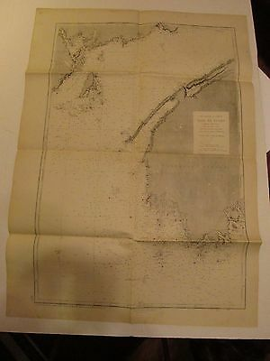 "Chart Antique Navigation ""Bale De Fundy"" Bay of Fundy French Language 1940 #3277"