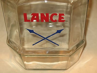 Vintage Lance Store Display Cookie/ Cracker Glass Jar  8 Sided With Arrows