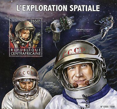 Central African Rep 2015 MNH Space Exploration 1v S/S Yuri Gagarin Leonov Stamps