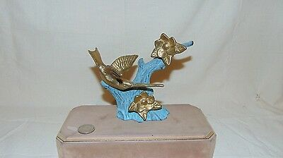 Vintage Brass Humming Bird And Flowers Statue With Cast Iron Branches