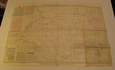 Pilot Chart North Atlantic Ocean Vintage May 1947 Weather Ice Condition