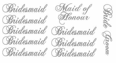 Bridesmaid and bride maid of honour groom Decal stickers for wine glasses ect