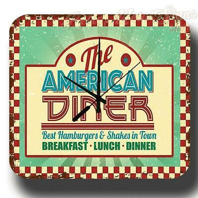 The American Diner Vintage Retro Metal Tin Sign Wall Clock