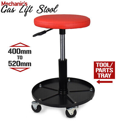 Mechanic's Gas Lift Stool - Height Adjustable Seat Workshop Auto Chair TOOL TRAY