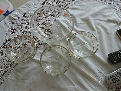 Lovely set of Six art Deco Dessert/Fruit dishes and bowl