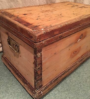 Vintage Old Stripped Pine Workshop Trunk Box Chest Coffee Table