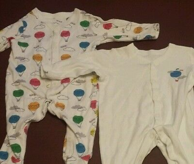 Babygrows / Sleepsuits x2 bundle. from M&S. Up to 3 months. Hot air balloons.