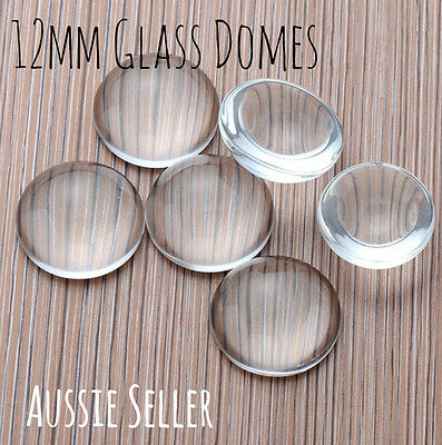 10x 12mm round Glass domes 3mm Cabochons DIY jewellery earrings studs craft