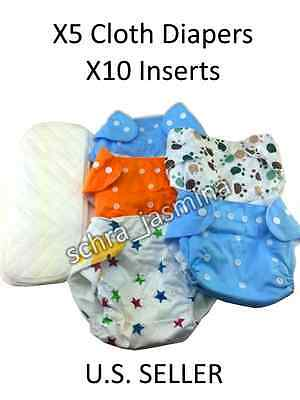 5 Boys cloth baby diapers lot + 10 inserts