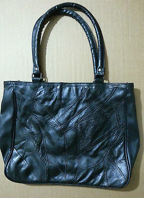 Black Square Tote Shoulder Bag. Multiple Pockets.