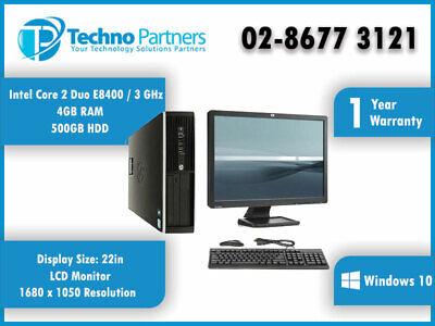 Computer Package HP Elite 8000 Core 2 Duo 4G 500G Win10  22 LCD Monitor warranty