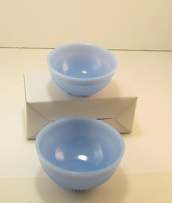 Pair Depression Style Mixing Nesting Bowls STACY MARIE light blue delphite