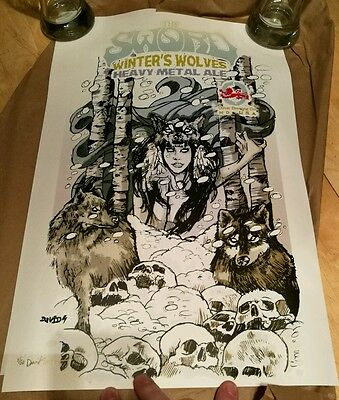 The Sword Winter's Wolves David Paul Seymour Litho Heavy Metal Ale