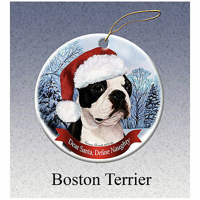 Boston Terrier Howliday Porcelain China Dog Christmas Ornament
