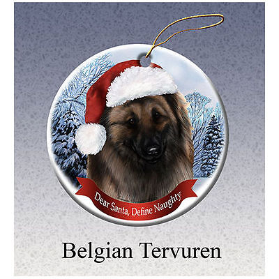 Belgian Tervuren Howliday Porcelain China Dog Christmas Ornament