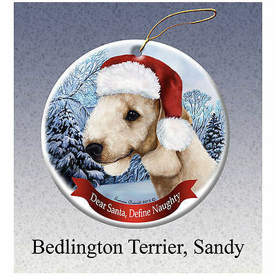 Bedlington Terrier Sandy Howliday Porcelain China Dog Christmas Ornament