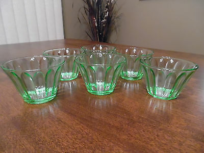 Vintage Hazel Atlas Depression Vaseline Glass Custard/Nut Cups